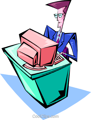 Businessman with computer Royalty Free Vector Clip Art illustration busi1351