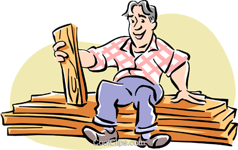 Carpenter with wood Royalty Free Vector Clip Art illustration cart1960