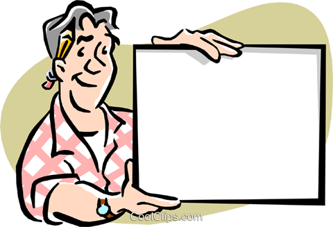 Man holding up sign Royalty Free Vector Clip Art illustration cart1966