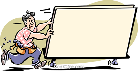 man moving billboard Royalty Free Vector Clip Art illustration cart1967