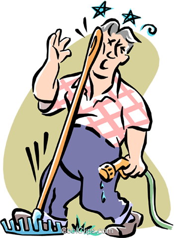 man stepping on a rake Royalty Free Vector Clip Art illustration cart1970