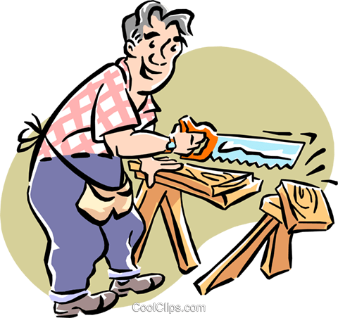Man sawing wood Royalty Free Vector Clip Art illustration cart1972