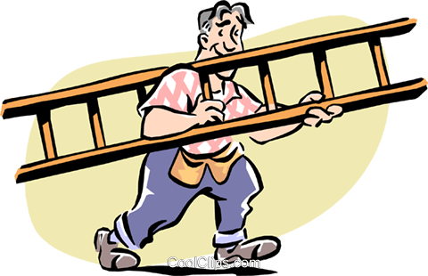Man with a ladder Royalty Free Vector Clip Art illustration cart1976
