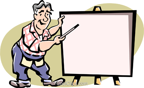 Man making presentation Royalty Free Vector Clip Art illustration cart1979