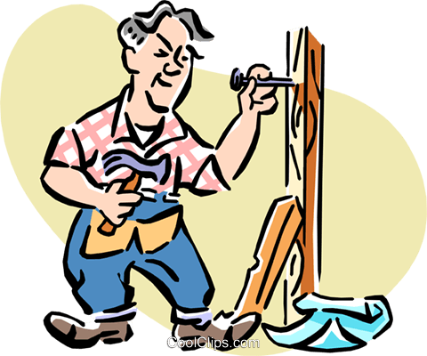 Man at work with hammer and nails Royalty Free Vector Clip Art illustration cart1985