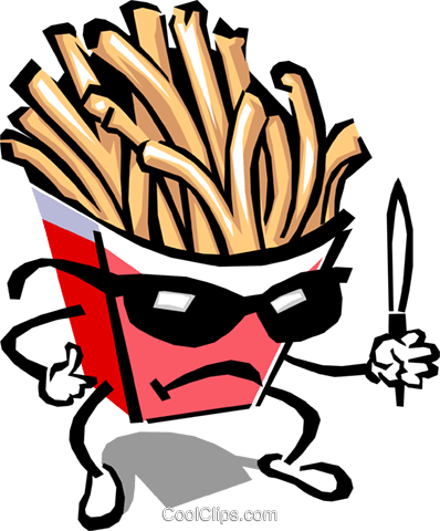 French fry character Royalty Free Vector Clip Art illustration food0803