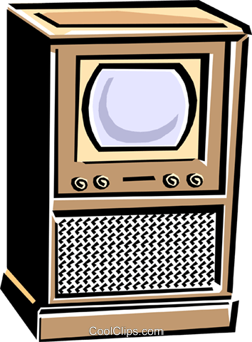 50's style television Royalty Free Vector Clip Art illustration hous1147