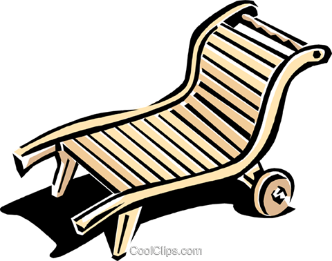 lounge chair or deck chair Royalty Free Vector Clip Art illustration hous1151