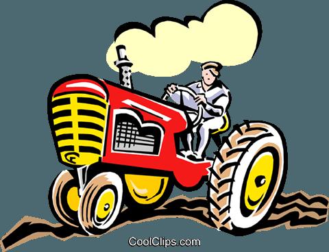 Farmer On Tractor Royalty Free Vector Clip Art Illustration