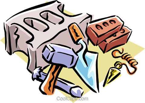 brick layer's tools Royalty Free Vector Clip Art illustration indu0788