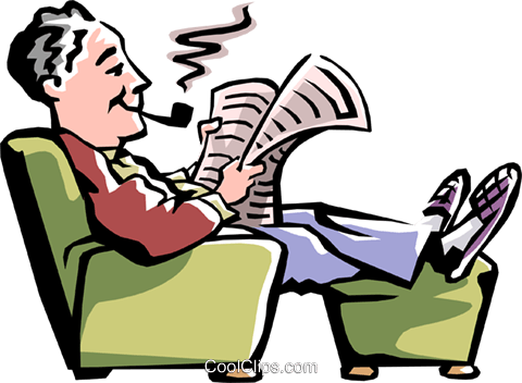 Man reading the newspaper Royalty Free Vector Clip Art illustration peop2243