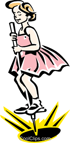 girl jumping on pogo stick Royalty Free Vector Clip Art illustration peop2251
