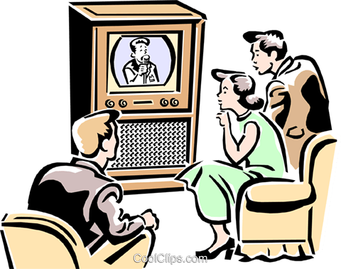 Family watching Television Royalty Free Vector Clip Art illustration peop2266