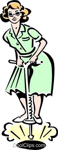 woman on pogo stick Royalty Free Vector Clip Art illustration peop2270