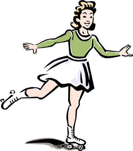 young lady roller skating Royalty Free Vector Clip Art illustration peop2272