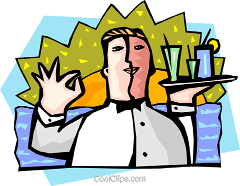food and entertainment/waiter Royalty Free Vector Clip Art illustration peop2287