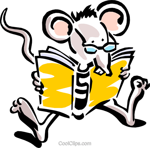 mouse reading Royalty Free Vector Clip Art illustration anim1542