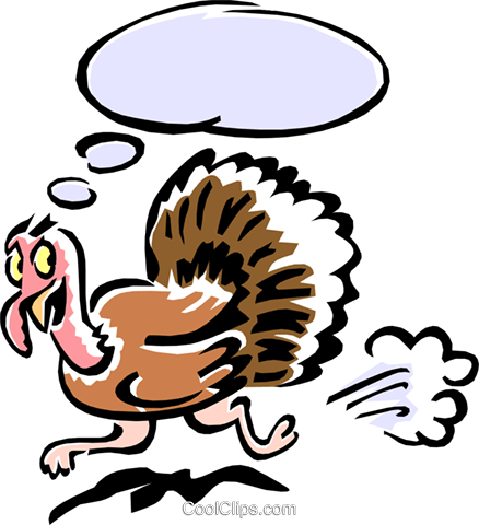 turkey having a thought Royalty Free Vector Clip Art illustration anim1546