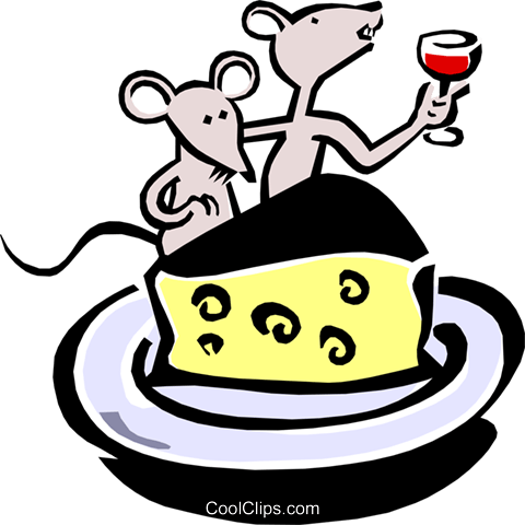 cartoon mice dining on wine and cheese Royalty Free Vector Clip Art illustration anim1547