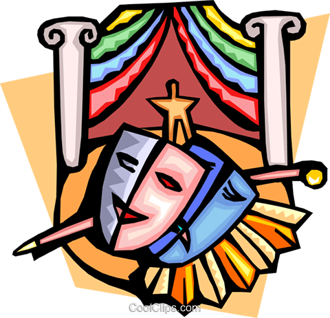 Theatre masks and stage Royalty Free Vector Clip Art illustration arts0472