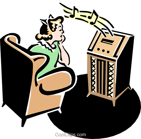 50's style radio with teenager listening Royalty Free Vector Clip Art illustration arts0477