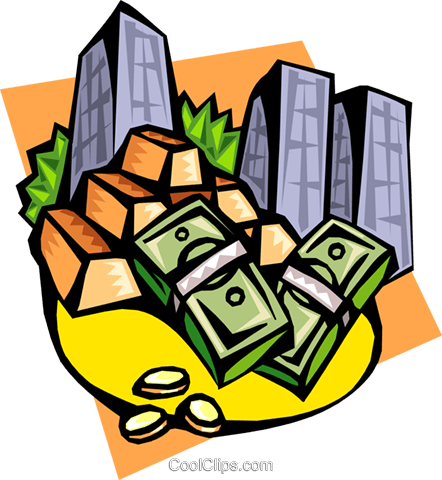 monetary instruments gold currency Royalty Free Vector Clip Art illustration busi1356