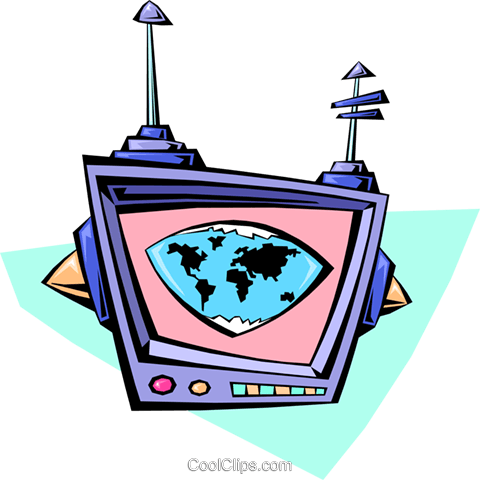 cartoon computer monitor Royalty Free Vector Clip Art illustration cart2002