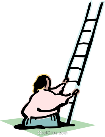 climbing the ladder of success Royalty Free Vector Clip Art illustration cart2093