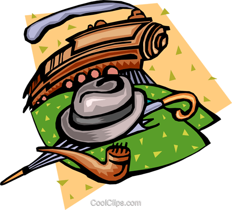 Train with hat, umbrella and pipe Royalty Free Vector Clip Art illustration tran0806