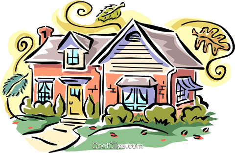 house fall scene Royalty Free Vector Clip Art illustration arch0422