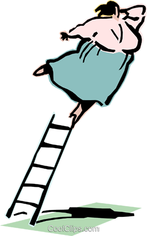 climbing the ladder of success Royalty Free Vector Clip Art illustration cart2098