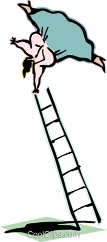 climbing the ladder of success Royalty Free Vector Clip Art illustration cart2100