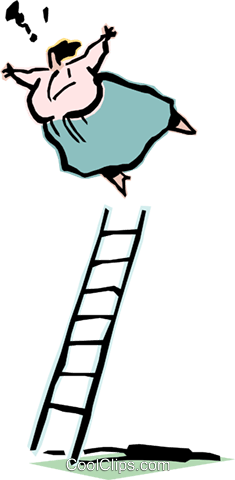 climbing the ladder of success Royalty Free Vector Clip Art illustration cart2101
