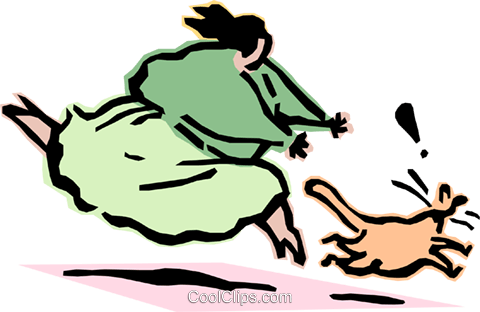 woman chasing cat Royalty Free Vector Clip Art illustration cart2112