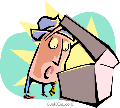 cartoon businessman/looking into box Royalty Free Vector Clip Art illustration cart2126