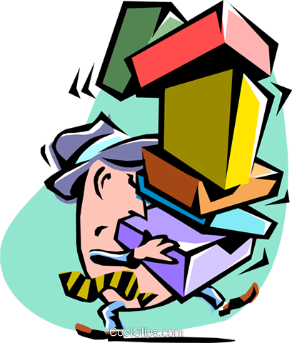 carrying parcels Royalty Free Vector Clip Art illustration cart2130