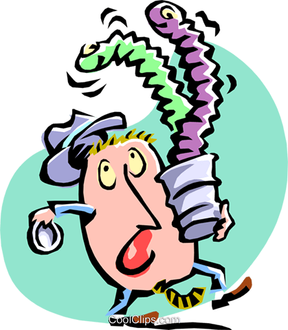 opening a surprise/snake in a can Royalty Free Vector Clip Art illustration cart2131