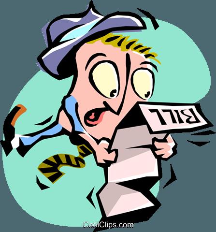 Cartoon Kaufmann Lesung Seine Rechnungen Vektor Clipart