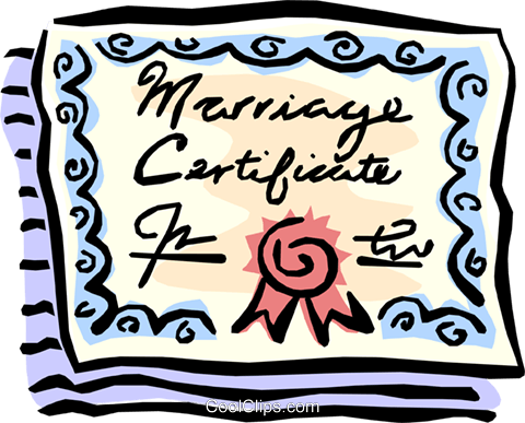 Marriage certificate Royalty Free Vector Clip Art illustration even0676