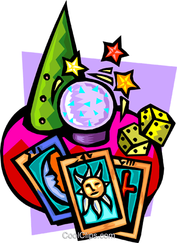 Crystal ball with tarot cards and dice Royalty Free Vector Clip Art illustration even0694