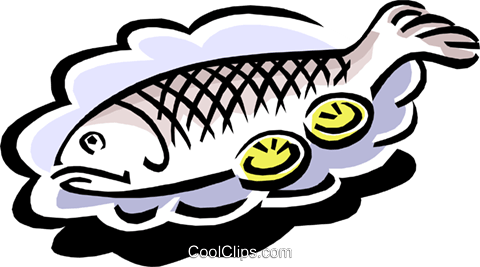 whole baked fish with lemon slices Royalty Free Vector Clip Art illustration food0827