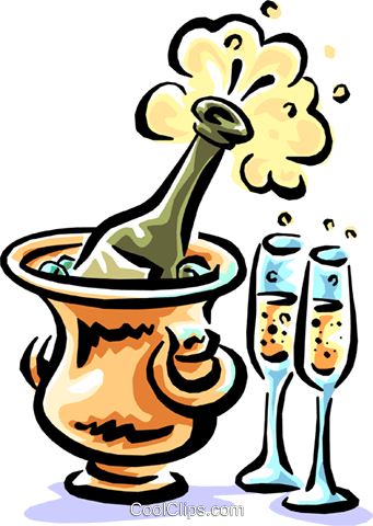 Champagne bottle chilling with glasses Royalty Free Vector Clip Art illustration food0830