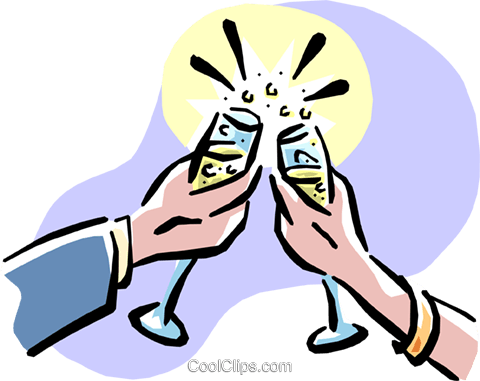 Making a toast Royalty Free Vector Clip Art illustration hand0280