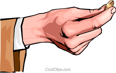 hand holding coin Royalty Free Vector Clip Art illustration hand0281