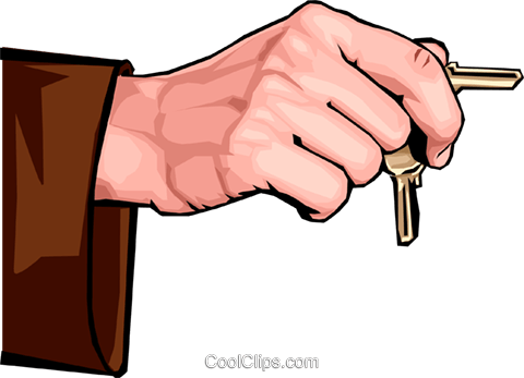hand holding keys Royalty Free Vector Clip Art illustration hand0284