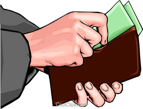 Hand placing money in wallet Royalty Free Vector Clip Art illustration hand0291