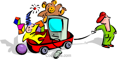 child with wagon of toys Royalty Free Vector Clip Art illustration hous1159