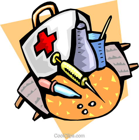 Items in a doctor's bag Royalty Free Vector Clip Art illustration medi0335