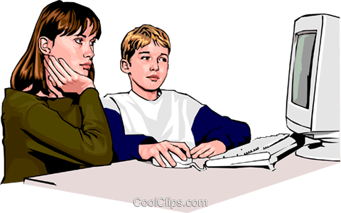 children working at the computer Royalty Free Vector Clip Art illustration peop2303