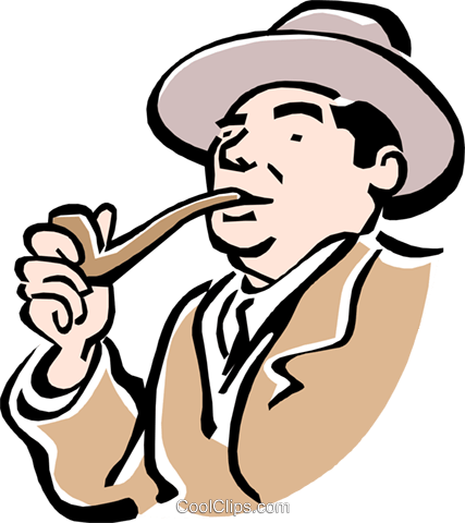 man smoking pipe Royalty Free Vector Clip Art illustration peop2328